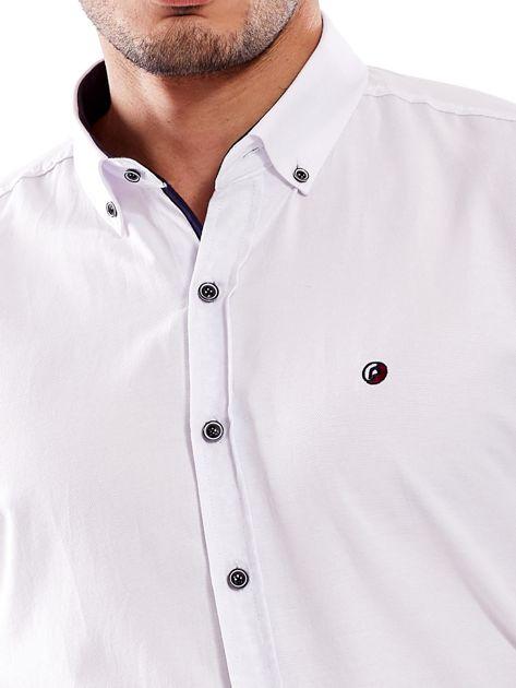 Biała koszula męska regular fit z podwijanymi rękawami                               zdj.                              8