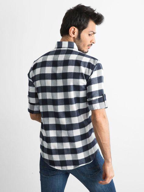 Biała koszula męska slim fit w kratę                              zdj.                              2