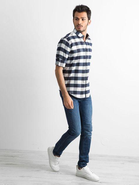 Biała koszula męska slim fit w kratę                              zdj.                              4
