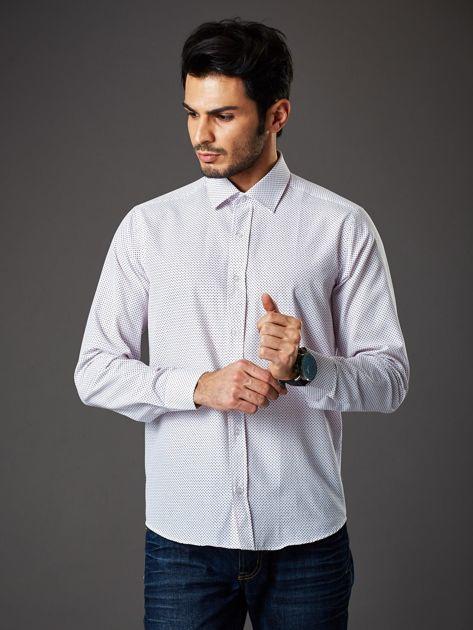 Biała koszula męska w granatowo-czerwone kropki regular fit                              zdj.                              5