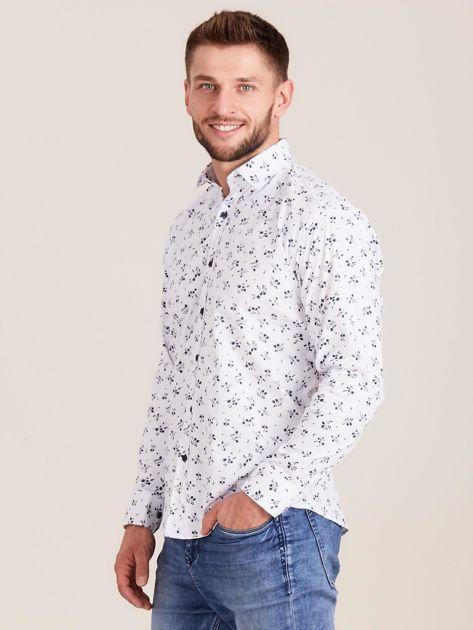 Biała koszula męska w roślinne wzory                              zdj.                              3