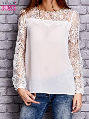 Biała koszula mgiełka z koronkowymi rękawami                                   zdj.                                  1