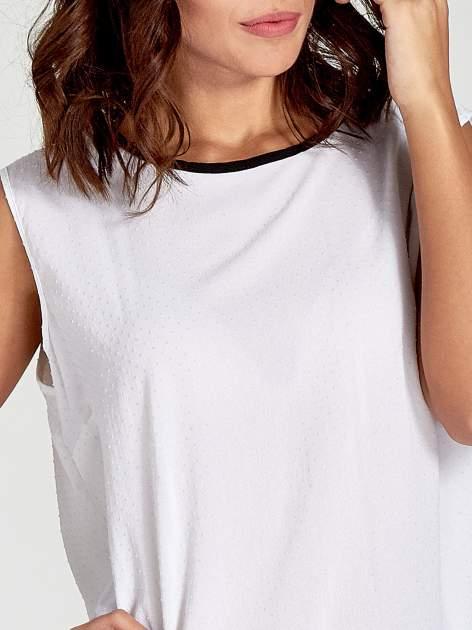 Biała koszula w kropki z kontrastową lamówką                                  zdj.                                  5