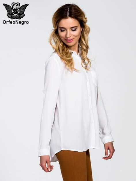 Biała koszula z kołnierzykiem zdobionym cekinami i kieszonką                                  zdj.                                  3