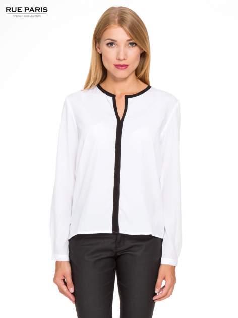 Biała koszula z kontrastową listwą