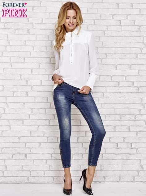 Biała koszula ze skórzanymi pikowanymi wstawkami                                  zdj.                                  2