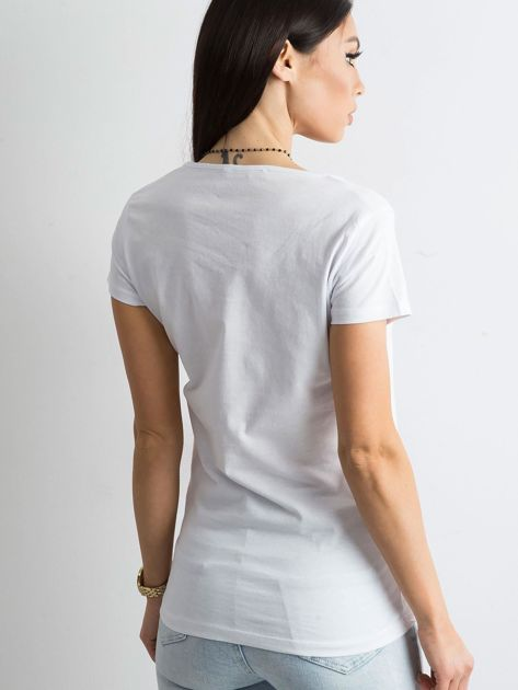 Biała koszulka damska z nadrukiem                              zdj.                              2