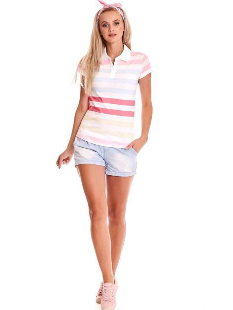 Biała koszulka polo w kolorowe paski                              zdj.                              4