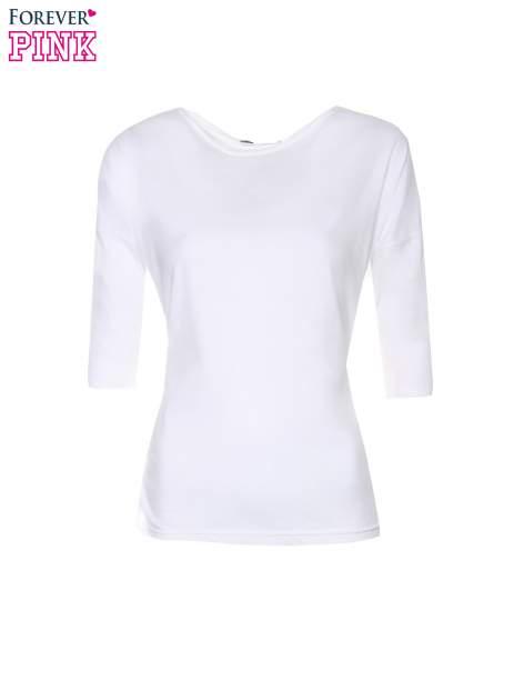 Biała luźna bluzka z rękawem 3/4                                  zdj.                                  5