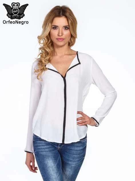 Biała minimalistyczna koszula z czarną listwą