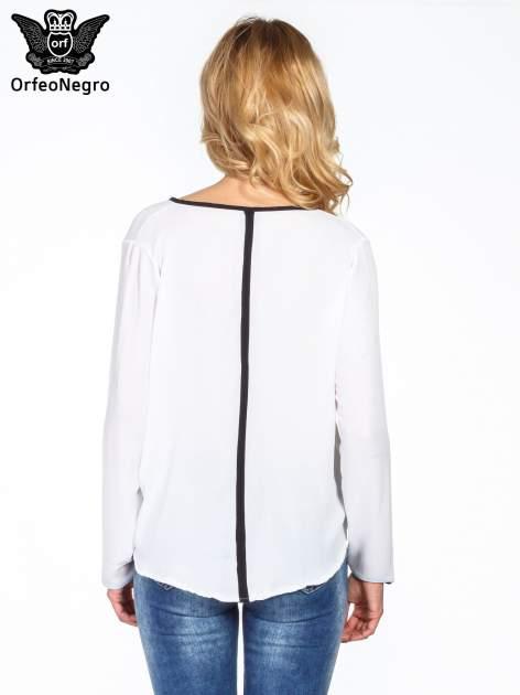 Biała minimalistyczna koszula z czarną listwą                                  zdj.                                  4