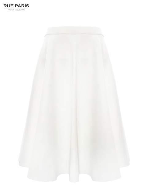 Biała neoprenowa spódnica midi szyta z koła                                  zdj.                                  2