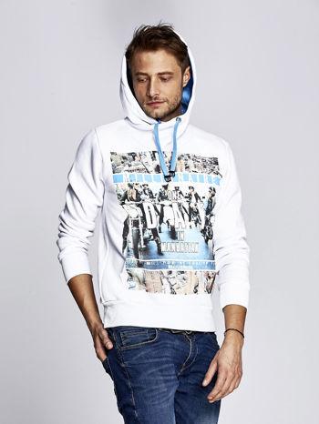 Biała ocieplana bluza męska z miejskim nadrukiem                                  zdj.                                  5