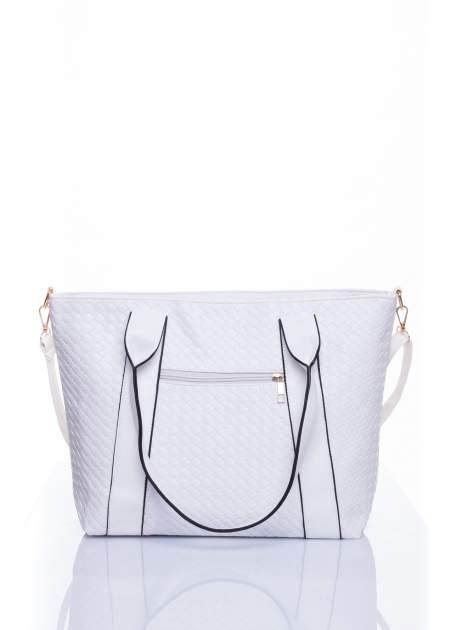 Biała pleciona torebka z suwakami                                  zdj.                                  3