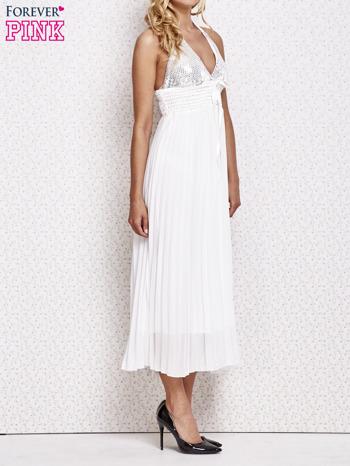 Biała plisowana sukienka maxi wiązana na plecach                                  zdj.                                  3