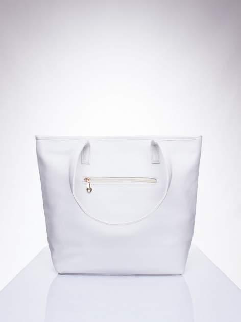 Biała prosta torba shopper bag ze złotymi okuciami                                  zdj.                                  3
