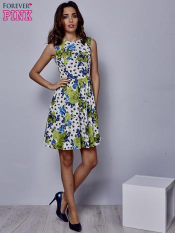 Biała rozkloszowana sukienka w zielone kwiaty                                  zdj.                                  2