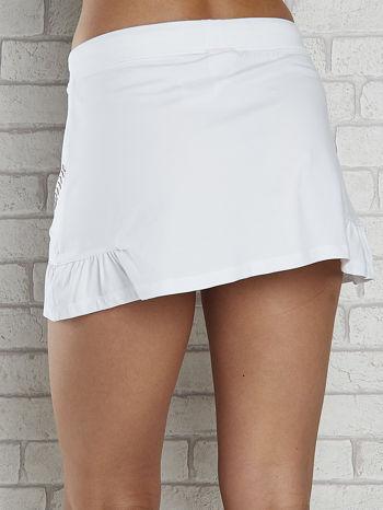 Biała spódnica dresowa z falbanką i troczkiem                                  zdj.                                  6