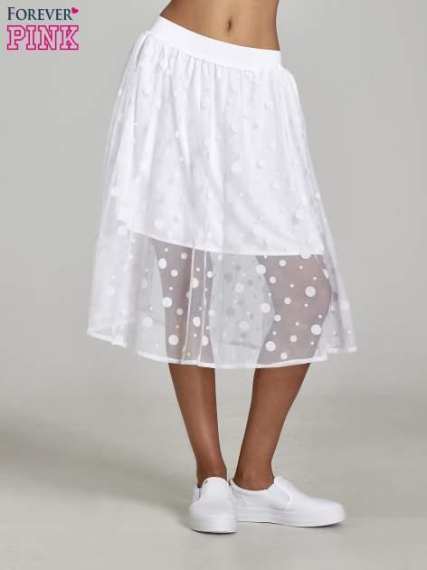 Biała spódnica z tiulową warstwą w groszki                                  zdj.                                  1