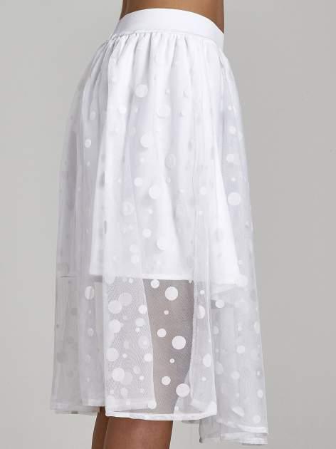 Biała spódnica z tiulową warstwą w groszki                                  zdj.                                  6