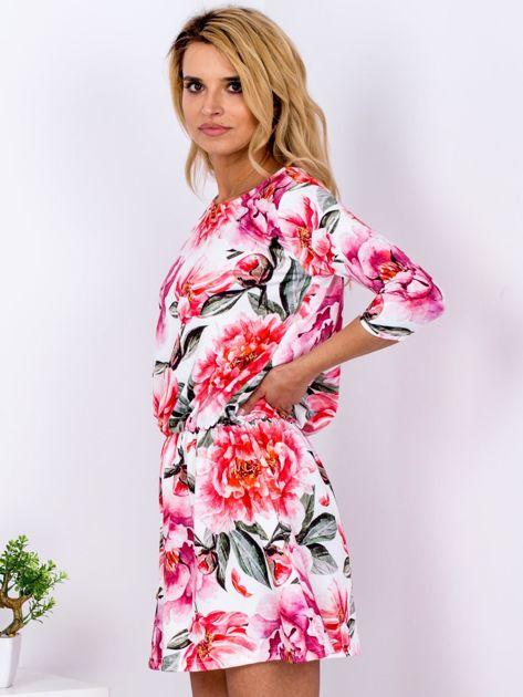 Biała sukienka floral print z gumką w pasie                              zdj.                              5