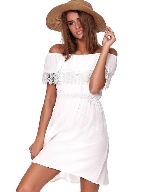 Biała sukienka hiszpanka mini z falbanką przy dekolcie                              zdj.                              1