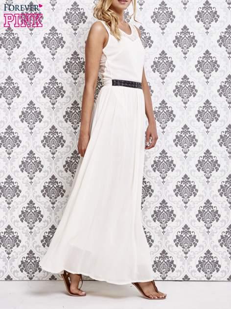 Biała sukienka maxi ze skórzanym pasem a'la ćwieki                                  zdj.                                  3