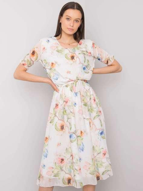 Biała sukienka w kwiaty Maelle