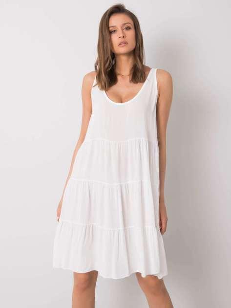 Biała sukienka z falbaną Bridgette OCH BELLA