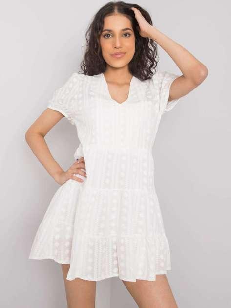 Biała sukienka z falbaną Dechen