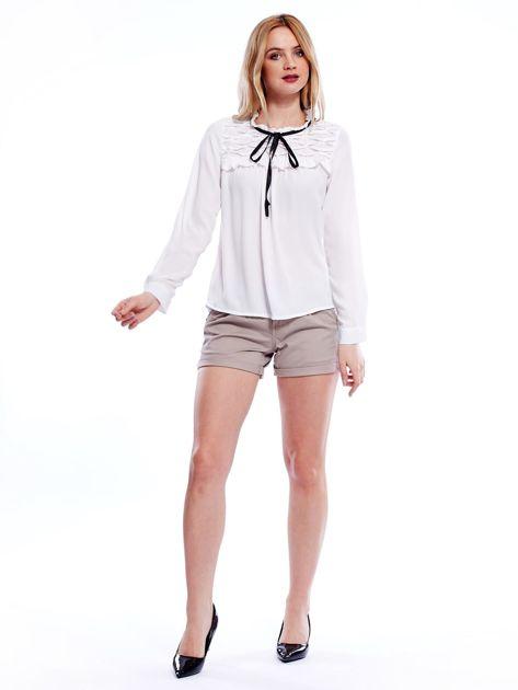 Biała szyfonowa bluzka z wiązaniem i perełkami                              zdj.                              6