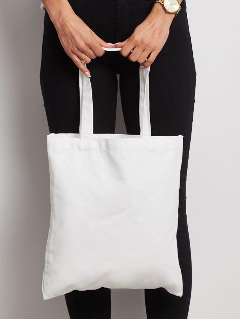 Biała torba materiałowa z nadrukiem                              zdj.                              3