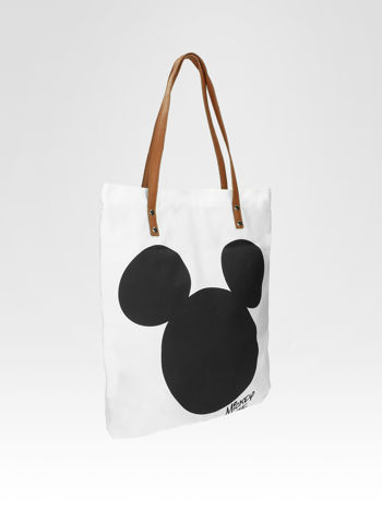 Biała torba shopper bag z motywem Mickey Mouse                                  zdj.                                  5