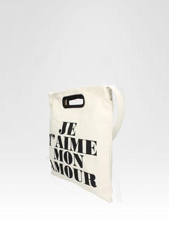 Biała torba shopper bag z napisem JE T'AIME MON AMOUR                                  zdj.                                  3