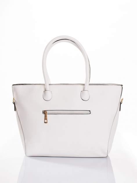 Biała torba shopper efekt saffiano                                  zdj.                                  2