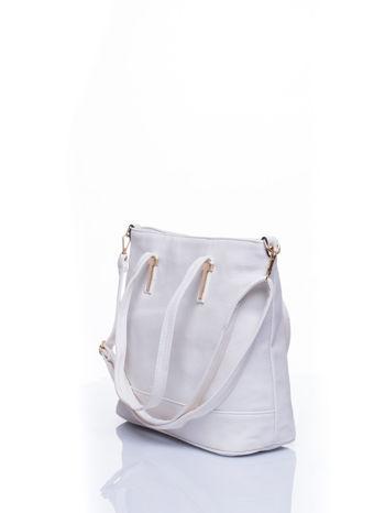 Biała torba shopperka z odczepianym paskiem                                   zdj.                                  5