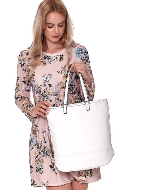 Biała torba w kwiaty ze wstawką crocodile skin                              zdj.                              5