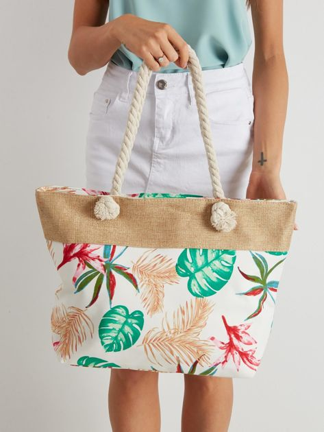 Biała torba z tropikalnym nadrukiem                              zdj.                              3