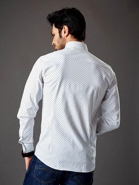 Biała wzorzysta koszula męska o prostym kroju                               zdj.                              2