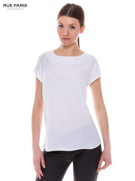 Biała zwiewna koszula z dłuższym tyłem