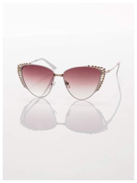 Białe KOCIE OCZY okulary przeciwsłoneczne z cyrkoniami w stylu RETRO                                   zdj.                                  3