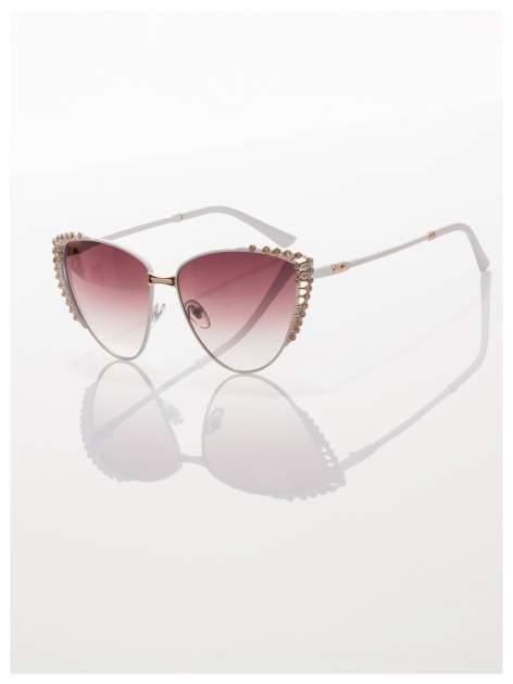 Białe KOCIE OCZY okulary przeciwsłoneczne z cyrkoniami w stylu RETRO                                   zdj.                                  1