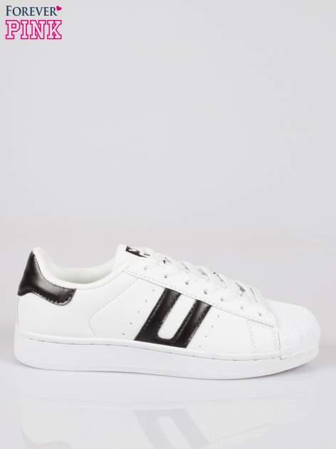 Białe adidasy damskie z czarną wstawką