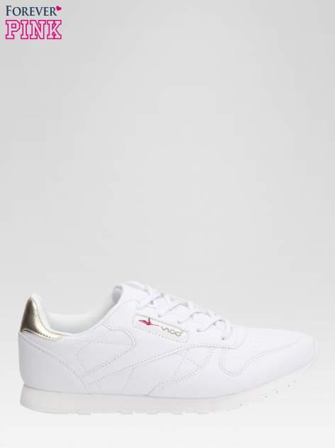 Białe buty sportowe ze złotym zapiętkiem