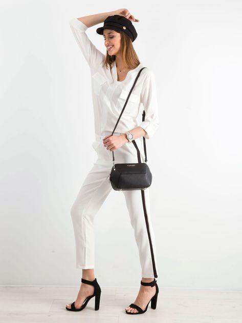 Białe damskie spodnie z lampasami                              zdj.                              4