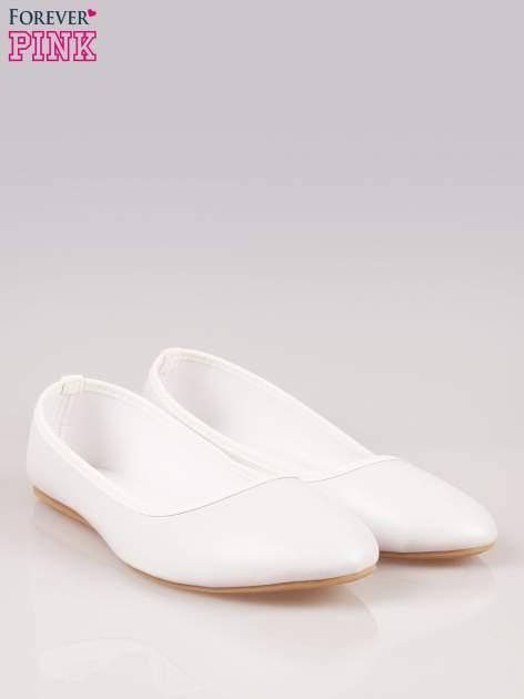 Białe gładkie balerinki eco leather ze skóry ekologicznej                                  zdj.                                  2