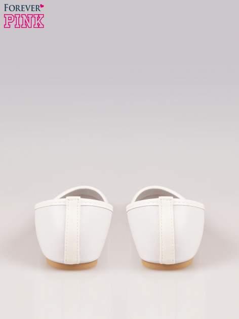 Białe gładkie balerinki eco leather ze skóry ekologicznej                                  zdj.                                  3
