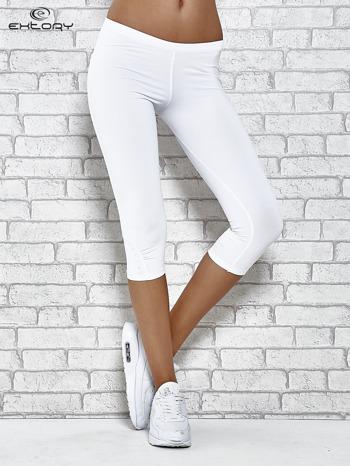 Białe legginsy sportowe termalne z dżetami na nogawkach