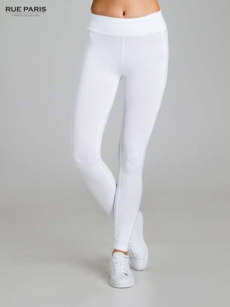Białe legginsy z tiulową siateczką
