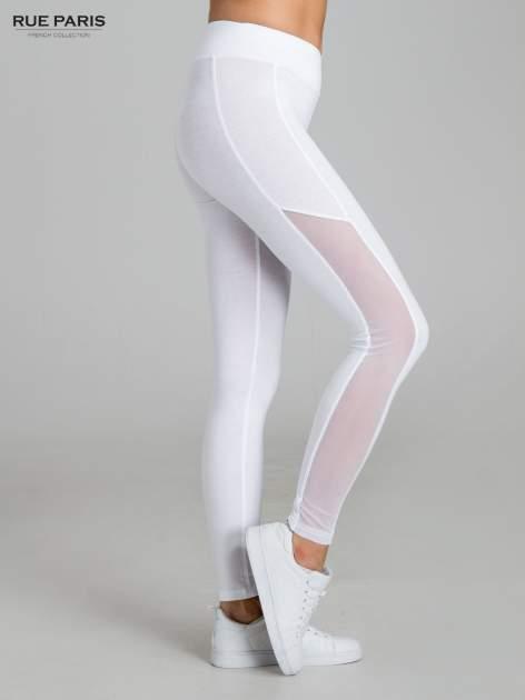 Białe legginsy z tiulową siateczką                                   zdj.                                  3